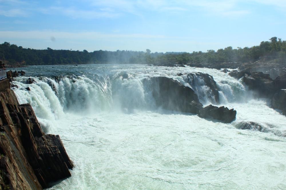Dhuandhar falls, near bheda ghat on Narmada river, Jabalpur, Madhya Pradesh, India