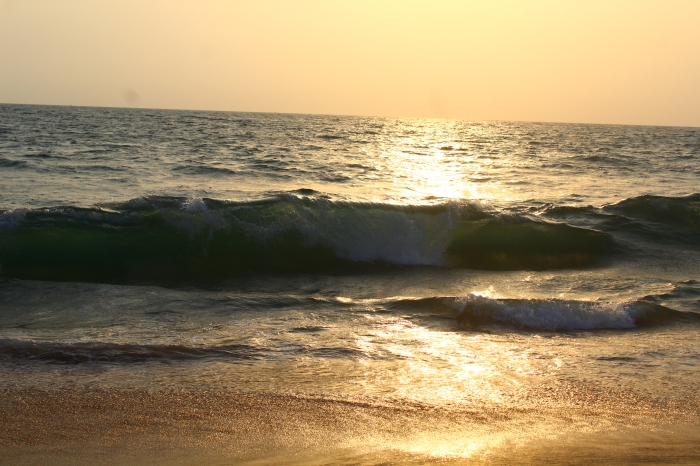 The waves at sunset