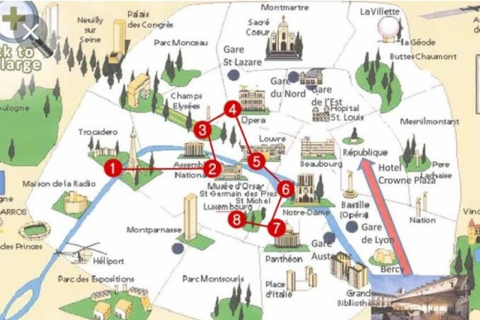 Map of Paris showing the important tourist attractions
