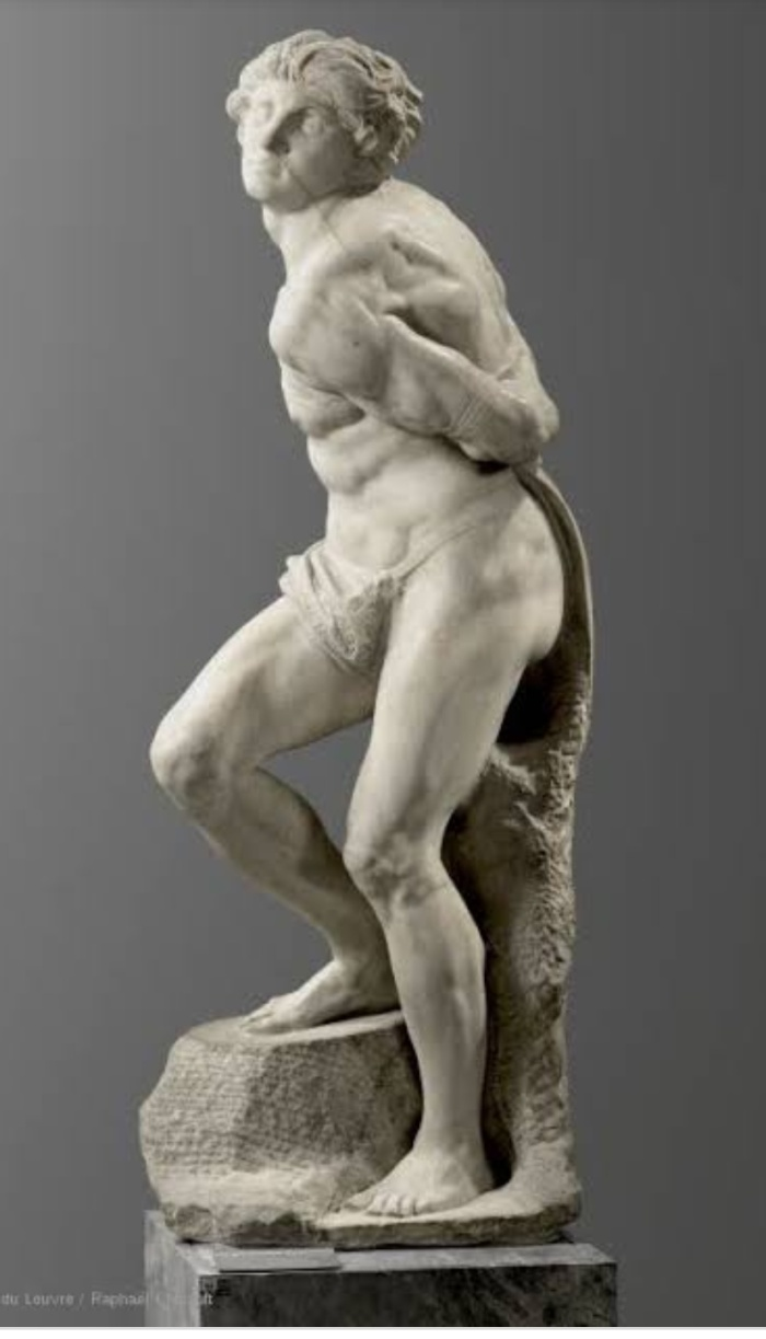 A sculpture by Michelangelo in the Louvre