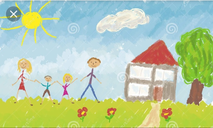 A child's painting of a happy family with a house and tree. The Happily ever afte