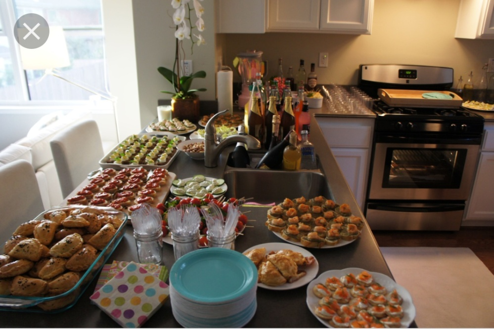 A housewarming party buffet at Mondler's new home in Westchester