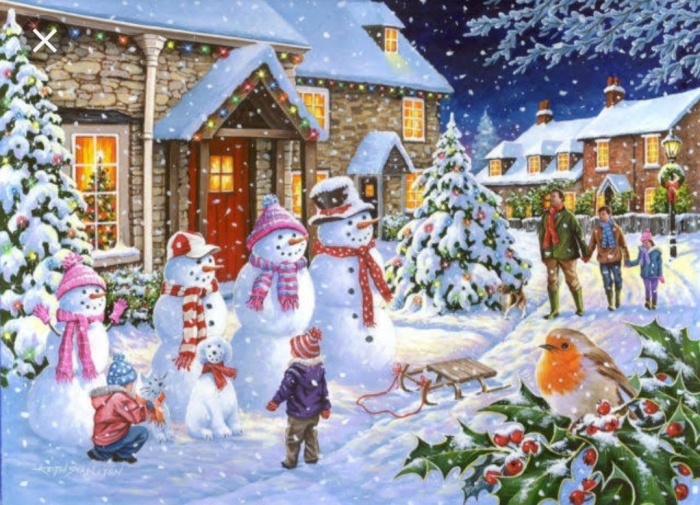A snowy Christmas Card with a house, snowman, kids and family