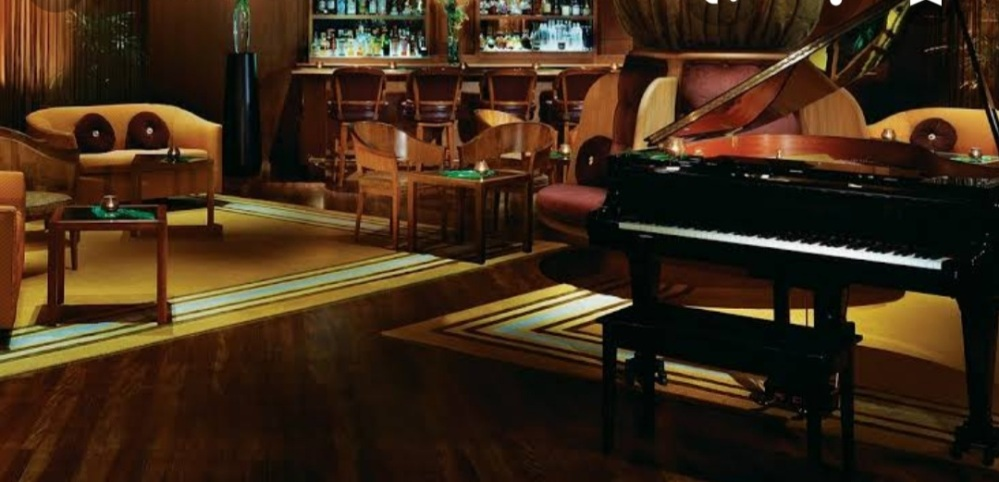 Upscale Bar lounge with a grand piano