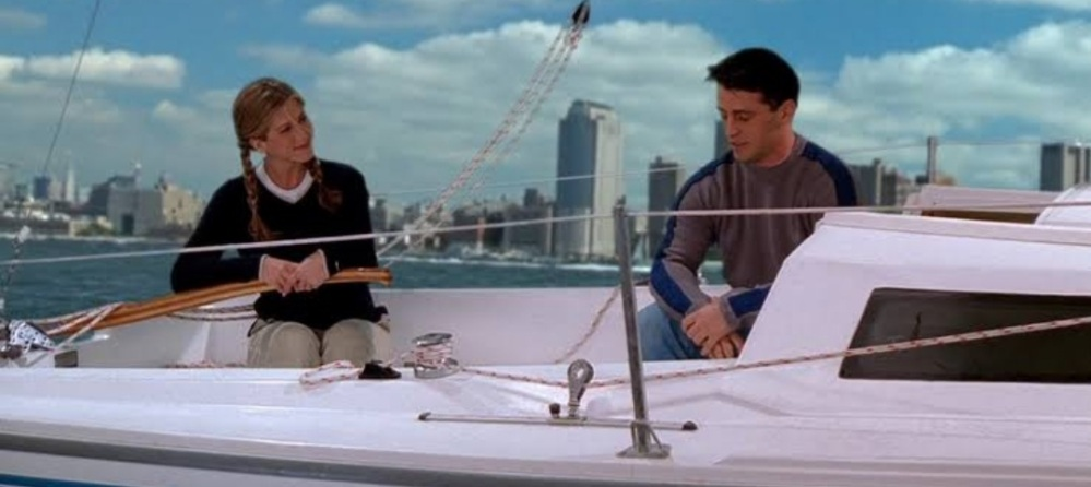 Friends Rachel Greene teaching Joey Tribbiani sailing