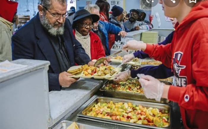 Food being served in Soup kitchen to the poor and needy in America and Europe