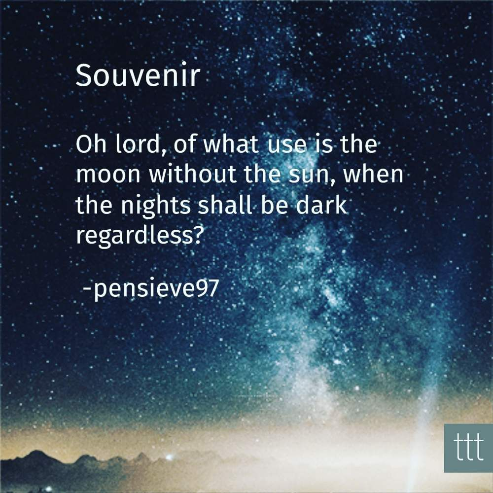 Starry sky dark moonless nights. Souvenir short story 140 on ttt
