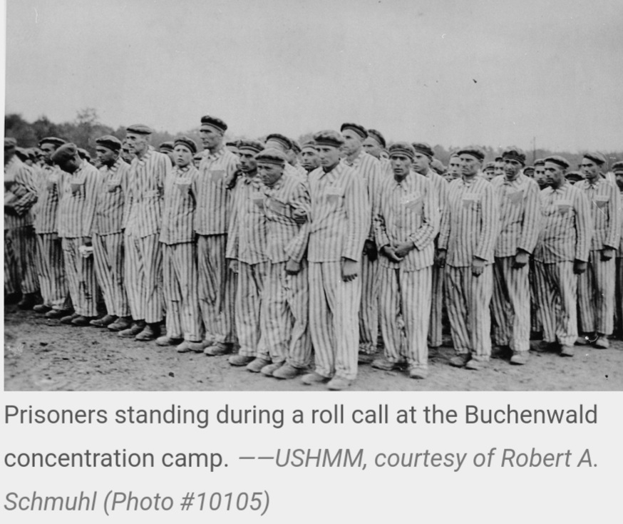Prisoners in roll call at concentration camp World war II