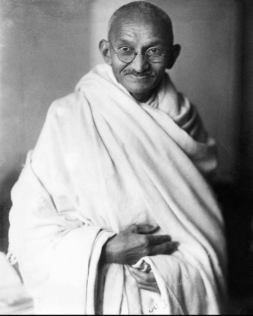Mahatma Mohandas Karamachand Gandhi Father of the nation Black and White Potrait