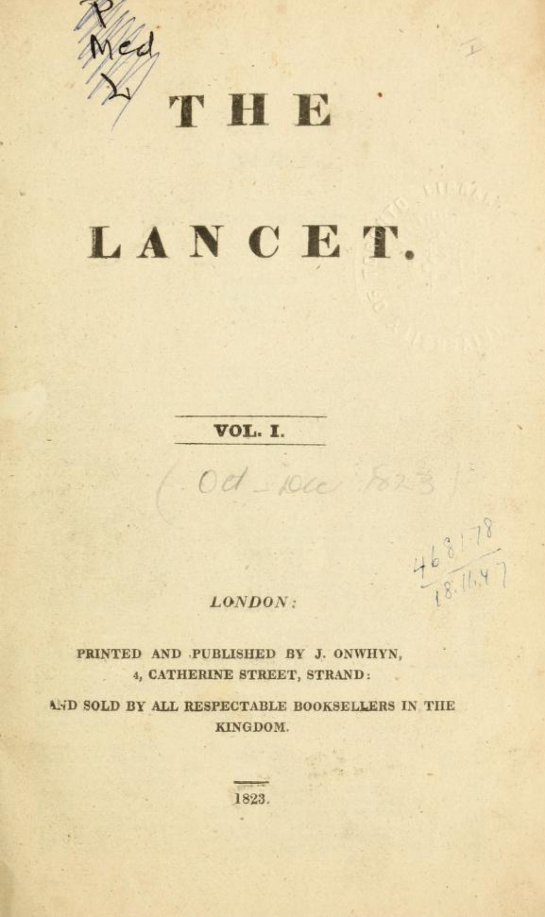 First volume of medical journal The Lancet in 1823, London, UK
